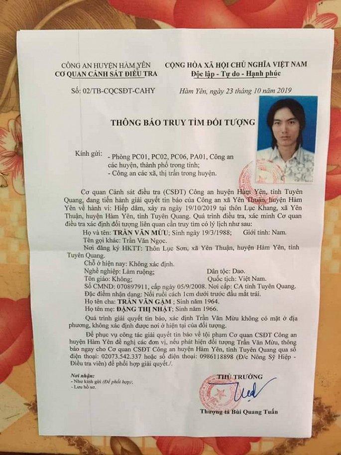 Tuyên Quang: Truy tìm đối tượng nghi hiếp dâm thiếu nữ 20 tuổi rồi bỏ trốn - Ảnh 1