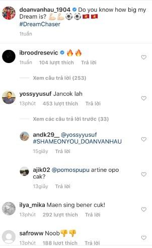 Trang Instagram của Văn Hậu bị hàng loạt CĐV Indonesia tấn công, khiêu khích - Ảnh 3