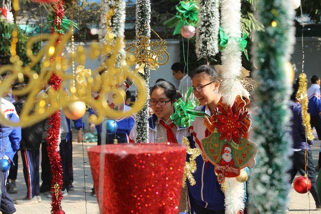 """Cận cảnh 3 cây thông Noel """"khổng lồ"""" được học sinh trang trí ngay trong sân trường cấp 2 ở Hà Nội - Ảnh 5"""