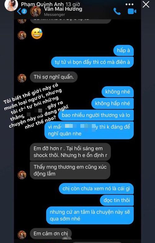 Phạm Quỳnh Anh chia sẻ những tin nhắn từ Văn Mai Hương, tiết lộ tình trạng hiện tại của nữ ca sĩ - Ảnh 1