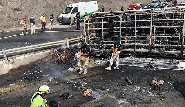 Hiện trường vụ tai nạn xe buýt kinh hoàng ở Mexico, ít nhất 35 người thương vong - Ảnh 6