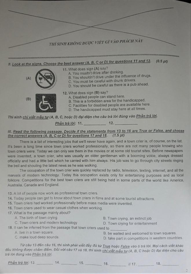 Phát hiện lỗi trong đề thi môn tiếng Anh vào lớp 10 tại TP.HCM - Ảnh 2