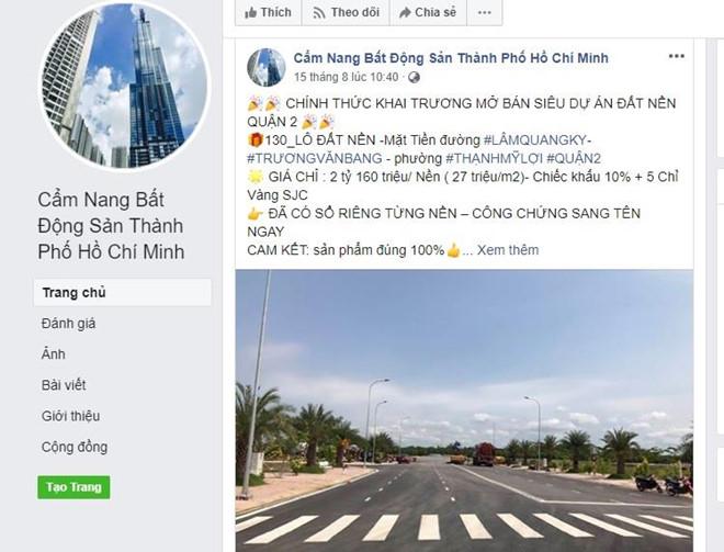 Xuất hiện các trang Facebook giả mạo Hiệp hội bất động sản TP.HCM để lừa bán đất - Ảnh 1