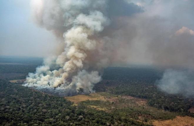 """Brazil điều chiến đấu cơ dội hàng ngàn lít nước dập lửa cứu """"lá phổi xanh"""" Amazon - Ảnh 1"""