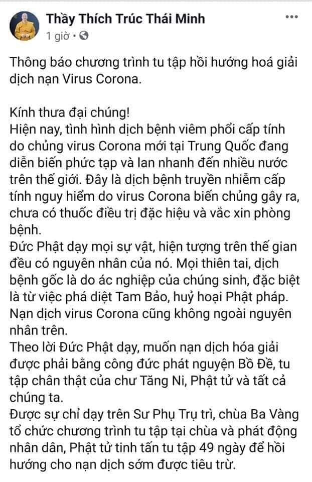 """Trụ trì chùa Ba Vàng bày cách """"hóa giải"""" virus corona gây viêm phổi cấp? - Ảnh 2"""
