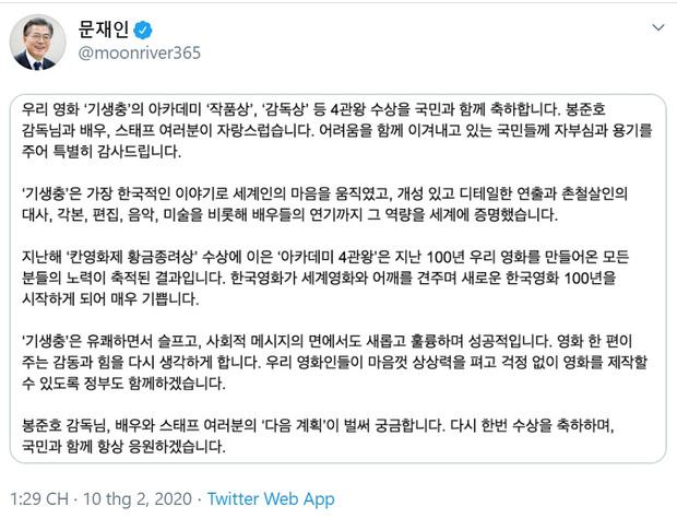 Tổng thống Hàn Quốc chúc mừng thành công vang dội của đoàn làm phim 'Parasite' - Ảnh 1