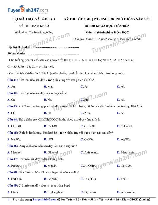 Đáp án gợi ý đề thi môn Hóa học kỳ thi tốt nghiệp THPT 2020 - Ảnh 4