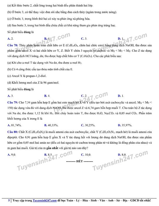 Đáp án gợi ý đề thi môn Hóa học kỳ thi tốt nghiệp THPT 2020 - Ảnh 8