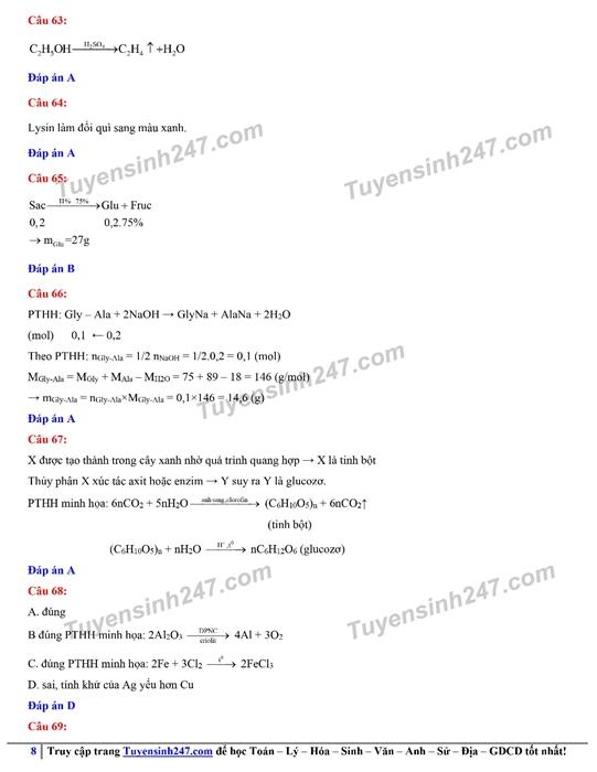 Đáp án gợi ý đề thi môn Hóa học kỳ thi tốt nghiệp THPT 2020 - Ảnh 11