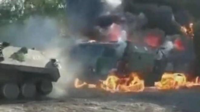 Tin tức quân sự mới nóng nhất ngày 22/9: Xe quân sự Nga bốc cháy dữ dội, tổn thất nặng nề - Ảnh 1