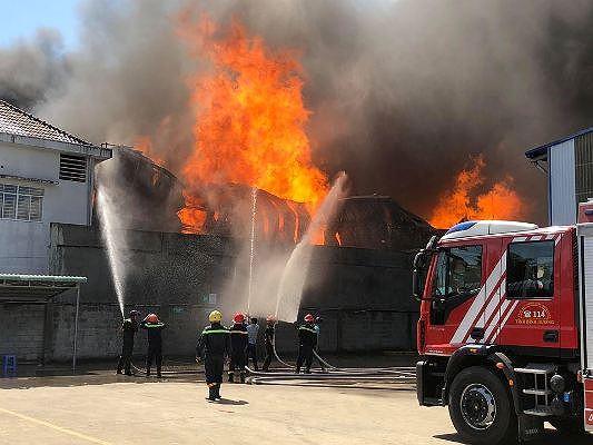Bình Dương: Cháy dữ dội tại công ty sản xuất gỗ, nhà xưởng 2000m2 bị thiêu rụi - Ảnh 2