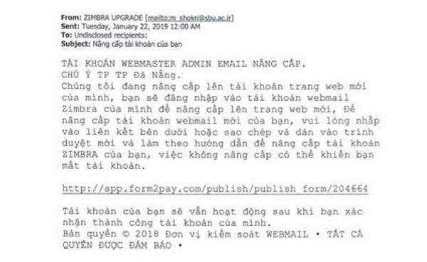 """Sở TT&TT Đà Nẵng phát cảnh báo về sự tấn công của """"tin tặc"""" vào email công vụ - Ảnh 1"""