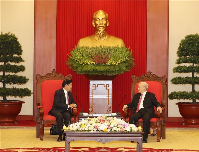 Tổng Bí thư, Chủ tịch nước Nguyễn Phú Trọng tiếp Thủ tướng Lào thăm chính thức Việt Nam - Ảnh 2