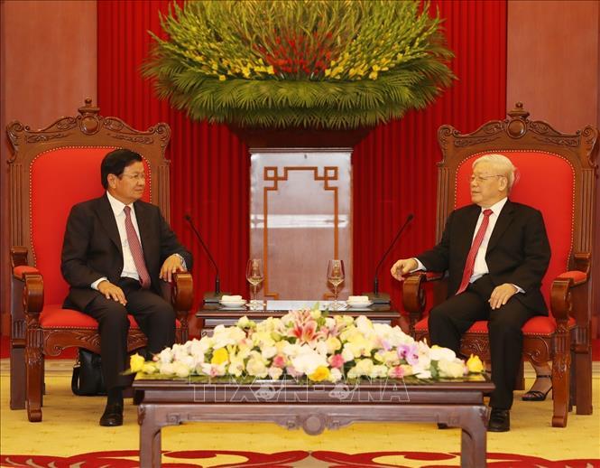 Tổng Bí thư, Chủ tịch nước Nguyễn Phú Trọng tiếp Thủ tướng Lào thăm chính thức Việt Nam - Ảnh 3