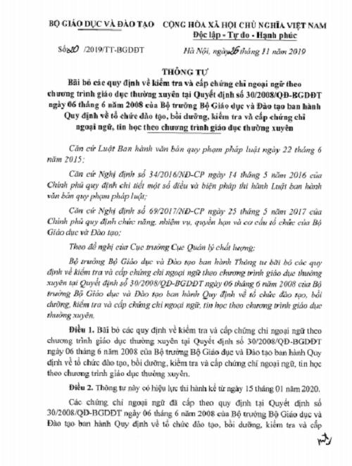 Bộ GD-ĐT chính thức bãi bỏ quy định về chứng chỉ ngoại ngữ - Ảnh 1