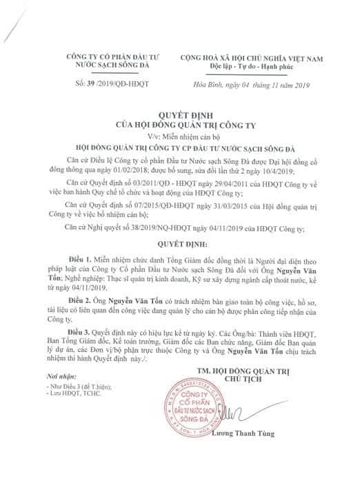 Sau sự cố nước nhiễm dầu, công ty nước sạch Sông Đà bất ngờ miễn nhiệm Tổng giám đốc Nguyễn Văn Tốn - Ảnh 1