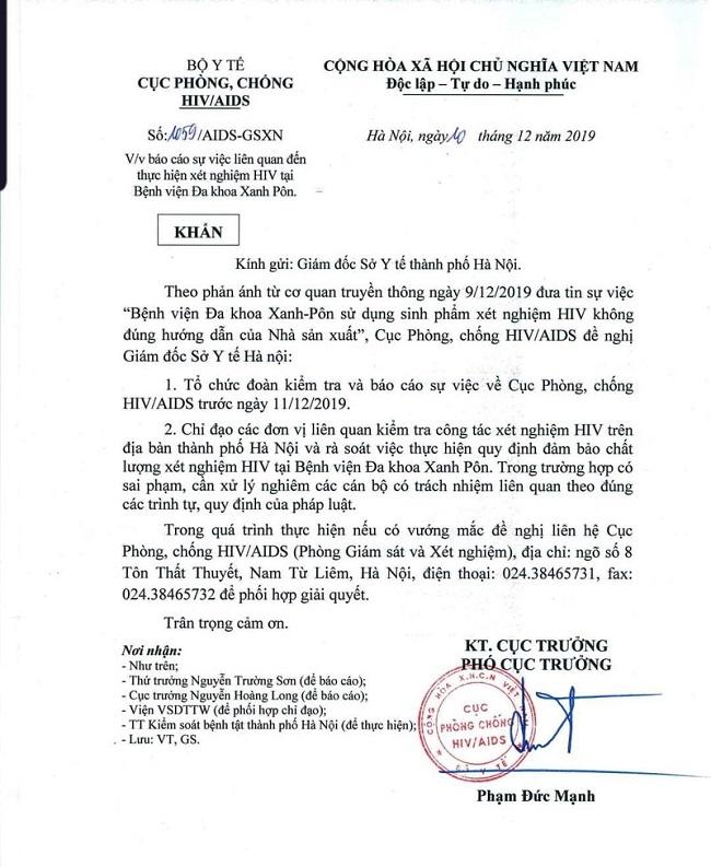 Nghi vấn cắt đôi que thử HIV tại bệnh viện Xanh Pôn: Cục phòng chống HIV/AIDS ra công văn khẩn - Ảnh 2