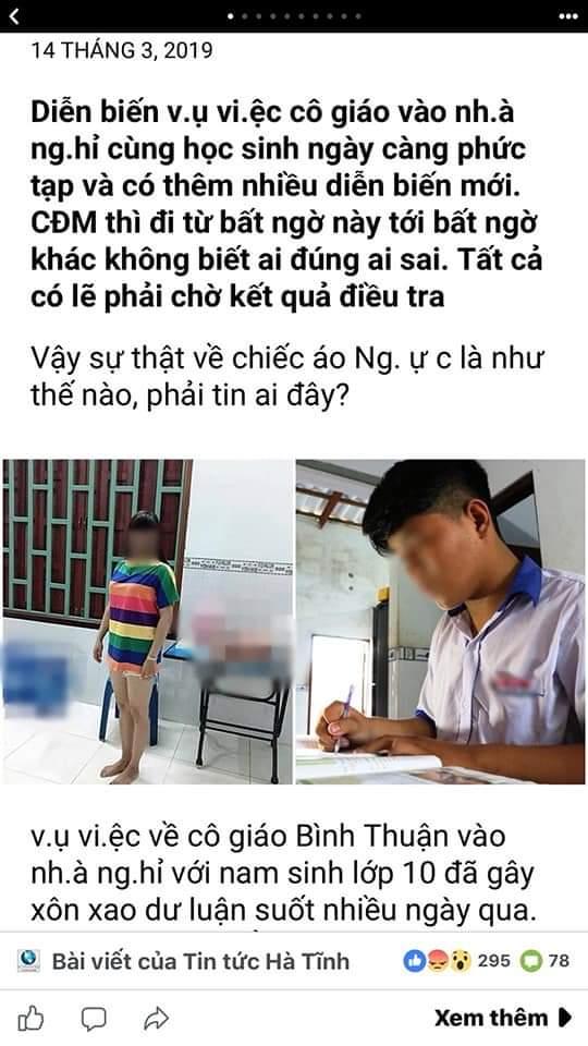 Nghi vấn cô giáo vào nhà nghỉ với nam sinh: Lớp trưởng vướng vạ oan lại bị ghép hình ảnh trên Facebook - Ảnh 1