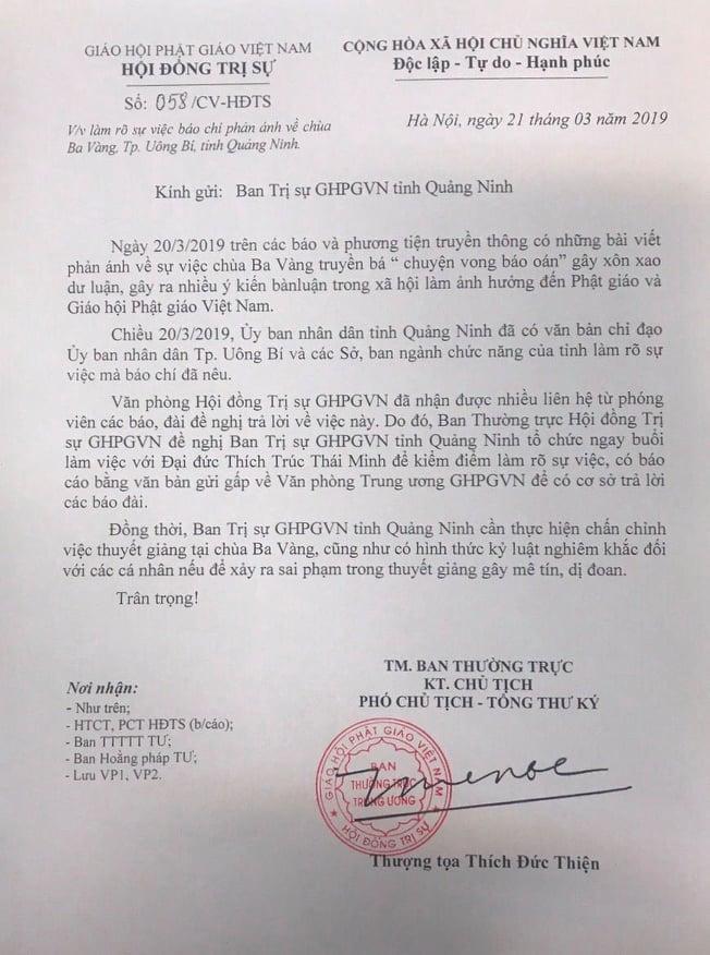 """Nghi vấn chùa Ba Vàng """"truyền bá vong báo oán"""": Thông tin mới từ Giáo hội Phật giáo Việt Nam - Ảnh 2"""