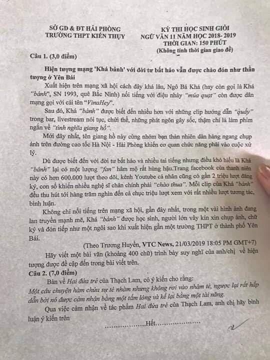 """Đưa Khá Bảnh vào đề thi học sinh giỏi ngữ văn lớp 11: """"Nếu nói về sư phạm, đó là một sai lầm"""" - Ảnh 1"""