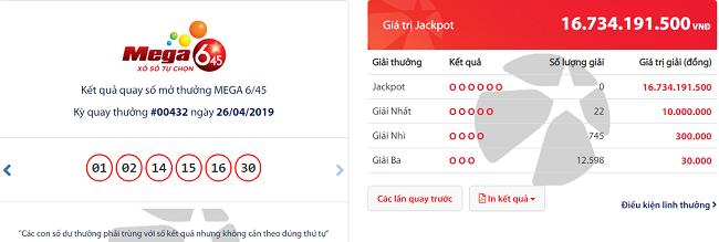 Kết quả xổ số Vietlott hôm nay 28/4/2019: Truy tìm bộ số trúng Jackpot hơn 16 tỷ đồng - Ảnh 1