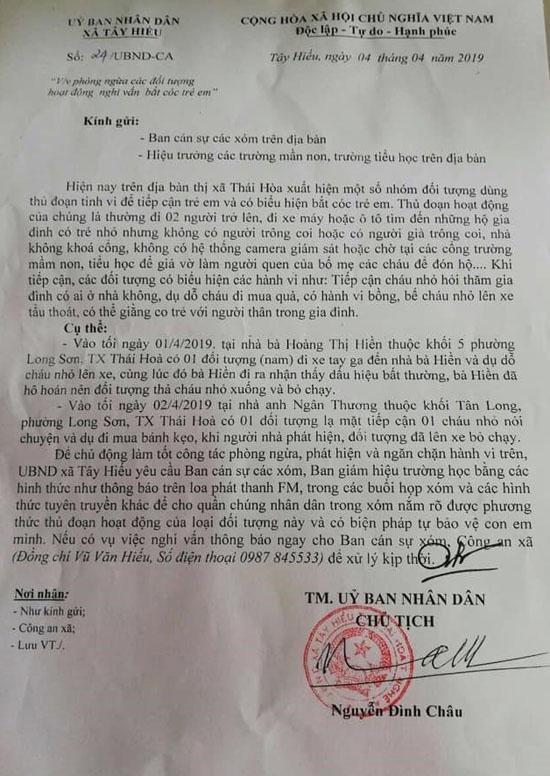 Nghệ An: Chính quyền xã phát văn bản cảnh báo nạn bắt cóc trẻ em - Ảnh 1
