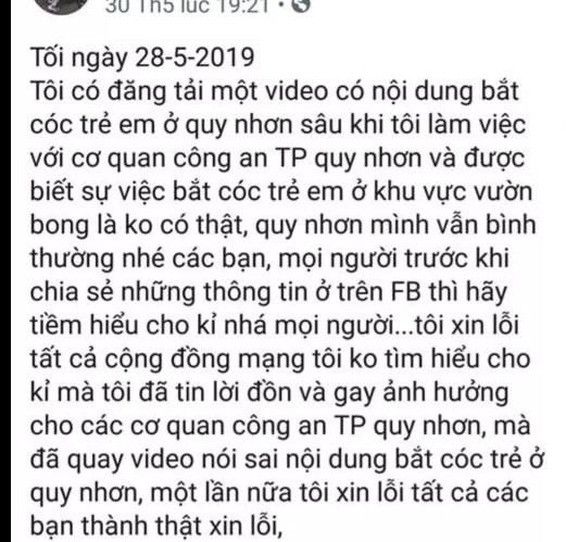 Bình Định: Triệu tập hai đối tượng tung tin bắt cóc trẻ em sai sự thật trên Facebook - Ảnh 2