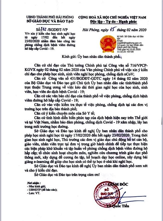 Sở GD-ĐT Hải Phòng bác thông tin cho học sinh nghỉ đến hết ngày 26/2 - Ảnh 2