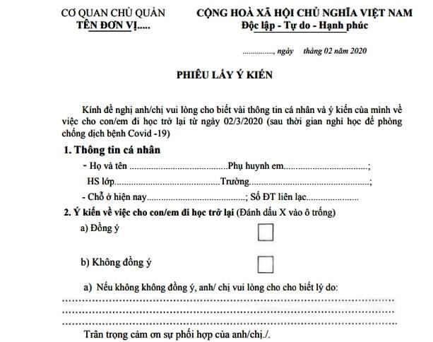 Quảng Nam: Phát phiếu lấy ý kiến phụ huynh về việc cho học sinh đi học trở lại - Ảnh 2