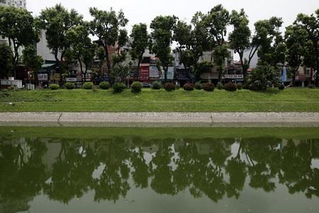 Nước sông Tô Lịch bất ngờ xanh như hồ Gươm sau đợt mưa kéo dài - Ảnh 4