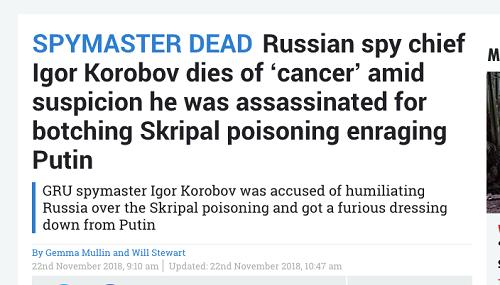 Truyền thông phương Tây đưa ra loạt kịch bản về cái chết của tướng tình báo Nga - Ảnh 1
