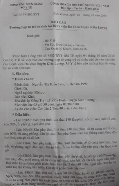 Vụ sản phụ nguy kịch, thai nhi tử vong tại BVĐK Kiên Lương: Người mẹ đã hồi tỉnh - Ảnh 2