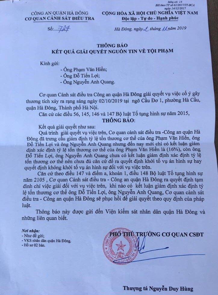 Vụ cố ý gây thương tích tại quận Hà Đông, TP Hà Nội: Đủ yếu tố cấu thành tội phạm, vì sao vẫn chưa khởi tố?  - Ảnh 4