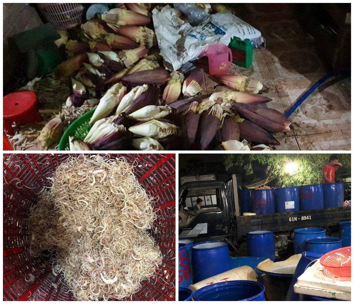 TP HCM: Ngó sen, hoa chuối ngâm tẩm hóa chất độc hại, chờ ra thị trường - Ảnh 1