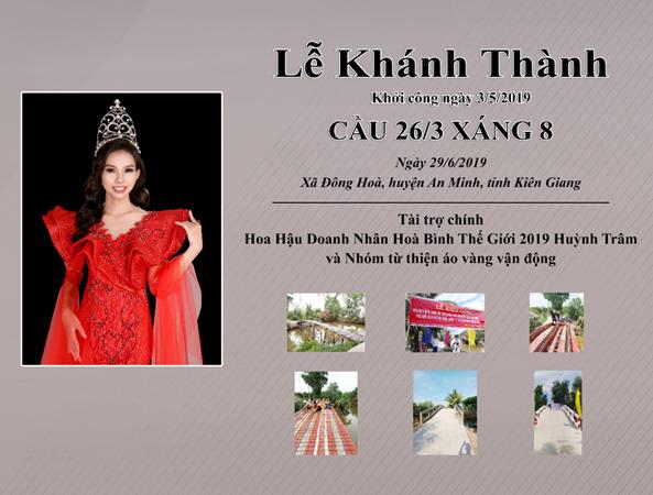 Hoa hậu Huỳnh Trâm tiếp tục kêu gọi các mạnh thường quân xây dựng cầu tình thương - Ảnh 1