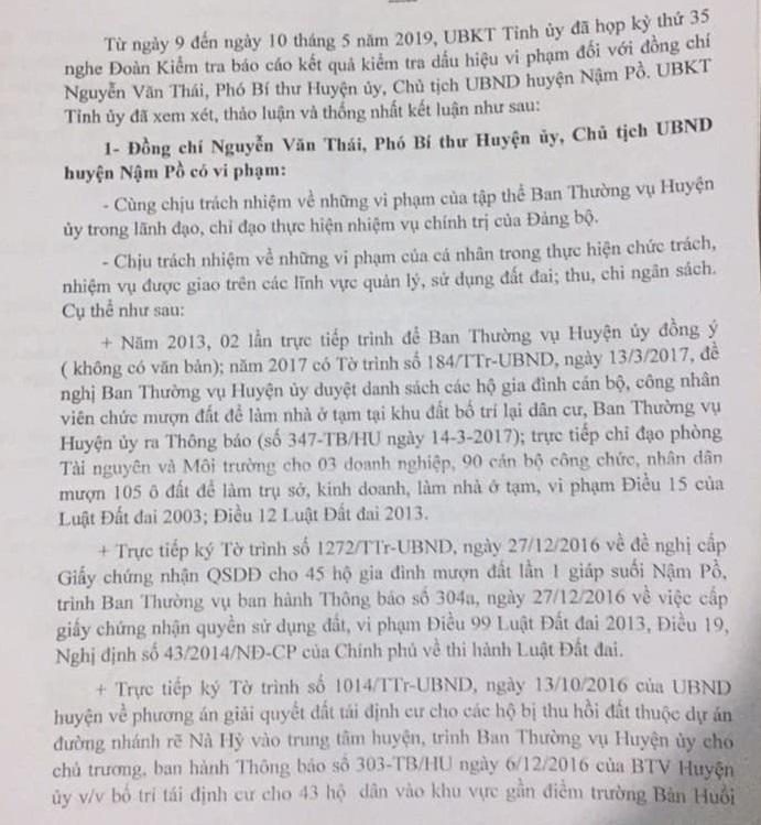 Nội dung kết luật về đồng chí Nguyễn Văn Thái,Phó Bí thư Huyện ủy, Chủ tịch UBND huyện Nậm Pồ của UBKT tỉnh Điện Biên