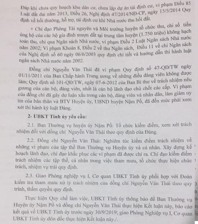 UBKT tỉnh ủy Điện Biên yêu cầu đồng chí Nguyễn Văn Thái nghiêm túc kiểm điểm trách nhiệm về những vi phạm của tập thể BTV huyện ủy và cá nhân
