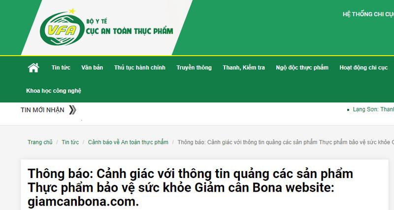 Quảng cáo TPCN Giảm cân Bona có tác dụng như thuốc chữa bệnh, lừa dối khách hàng bị xử phạt - Ảnh 1
