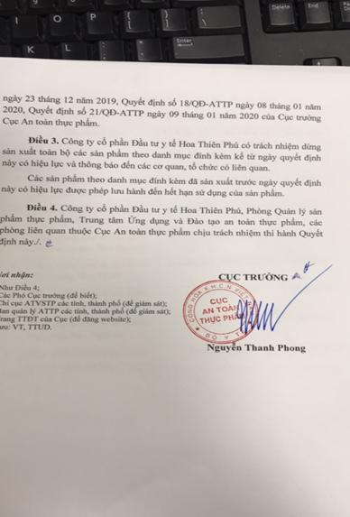 Công ty Hoa Thiên Phú chủ động nộp Giấy tiếp nhận đăng ký bản công bố cũ, xin số công bố mới - Ảnh 2