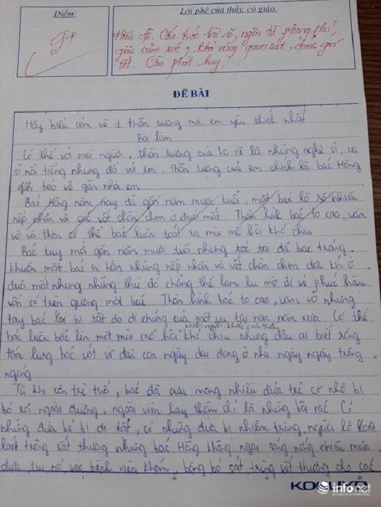 Tả về thần tượng, cô bé lớp 2 nói về nhân vật bất ngờ khiến nhiều người rơi nước mắt - Ảnh 1