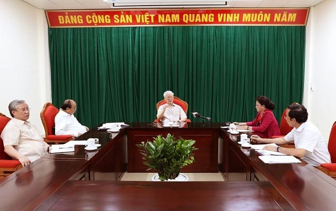 Chùm ảnh: Tổng Bí thư, Chủ tịch nước Nguyễn Phú Trọng chủ trì họp lãnh đạo chủ chốt - Ảnh 3