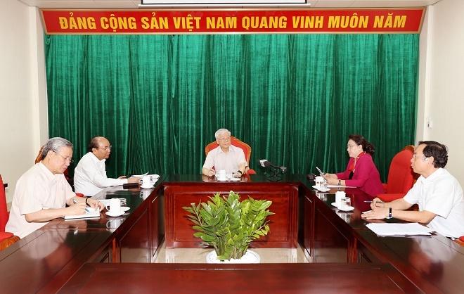 Chùm ảnh: Tổng Bí thư, Chủ tịch nước Nguyễn Phú Trọng chủ trì họp lãnh đạo chủ chốt - Ảnh 4