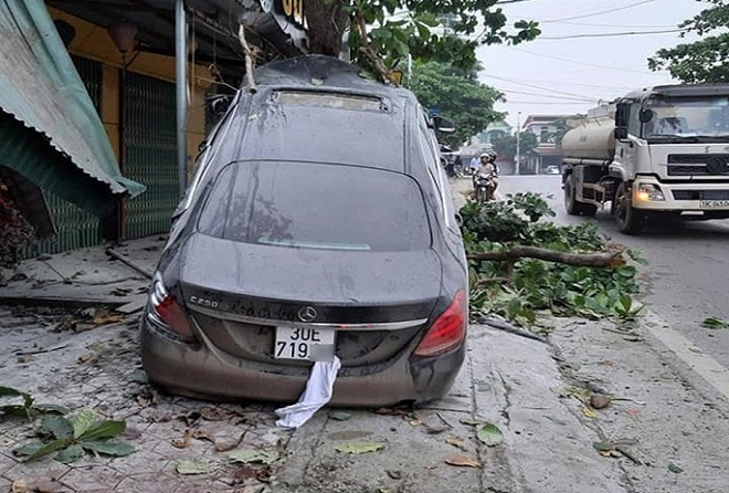 """Ô tô Mercedes mất lái """"leo"""" lên cây bàng, tài xế nhập viện - Ảnh 2"""