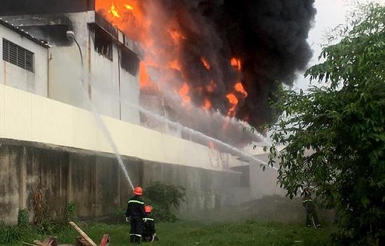 Cháy lớn, khói đen bốc lên ngùn ngụt tại khu công nghiệp ở Bình Dương - Ảnh 2
