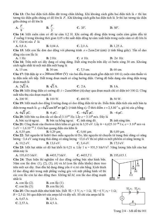 Đáp án đề thi môn Vật lý tất cả các mã đề THPT quốc gia 2019 chuẩn nhất, chính xác nhất (cập nhật) - Ảnh 14