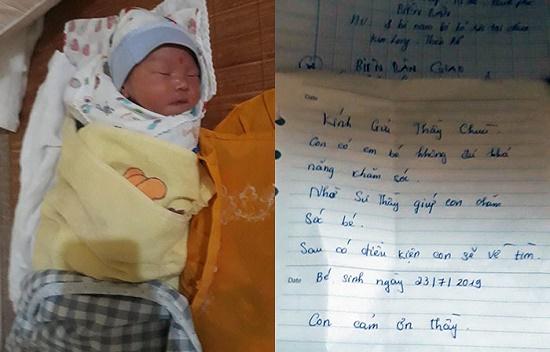 """Bé trai 1 ngày tuổi bị bỏ rơi trước cổng chùa kèm lời nhắn """"có điều kiện sẽ về tìm"""" - Ảnh 1"""