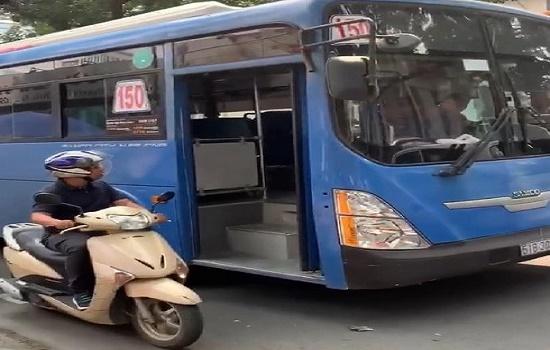 Đình chỉ tài xế xe buýt bấm còi, ép xe, xúc phạm người đi đường ở TP.HCM - Ảnh 1