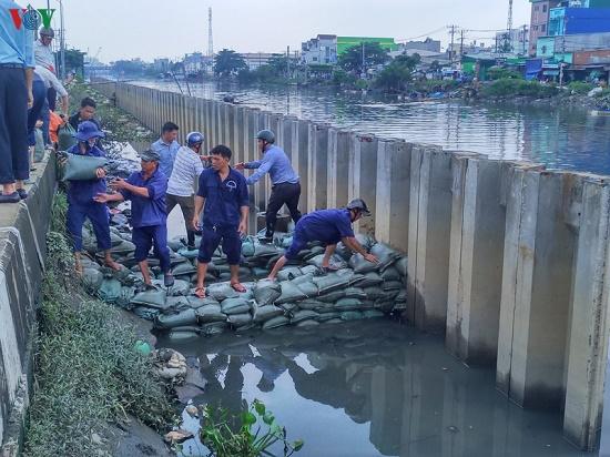 Triều cường dâng cao, người dân TP.HCM hối hả xây tường, đắp bao ngăn nước - Ảnh 12
