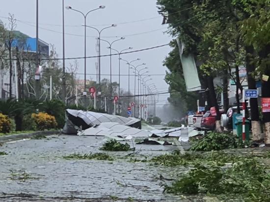 Cận cảnh sức phá hoại khủng khiếp của bão số 9 đổ bộ vào Quảng Ngãi: Cây xa la liệt đổ, thổi bay mái tôn - Ảnh 11
