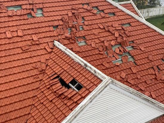 Cận cảnh sức phá hoại khủng khiếp của bão số 9 đổ bộ vào Quảng Ngãi: Cây xa la liệt đổ, thổi bay mái tôn - Ảnh 14